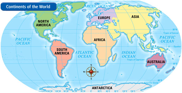 Map Geography Skills Th Grade Social Studies - Map showing continents and oceans