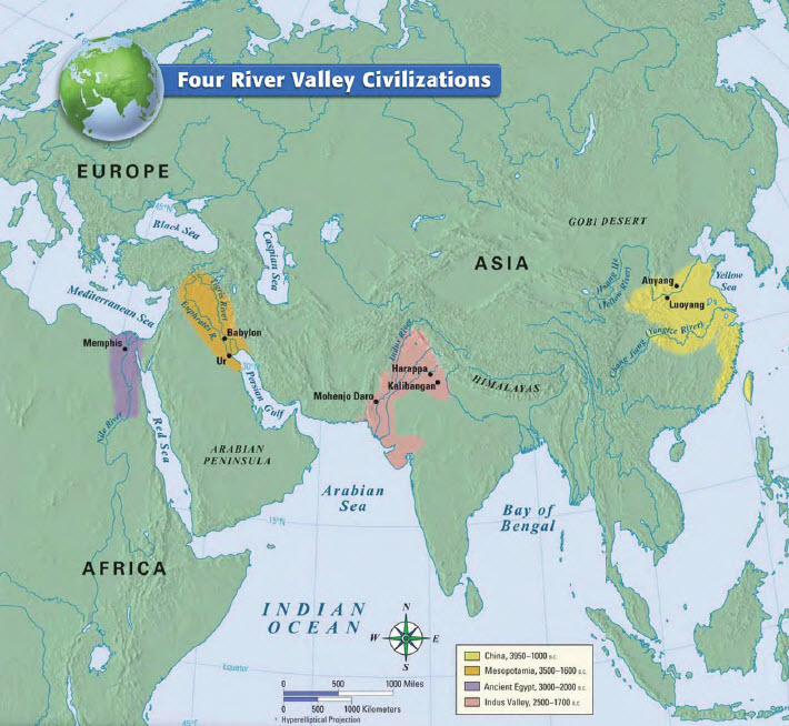 Early River Valley Civilizations Map River Valley Civilizations   6th Grade Social Studies